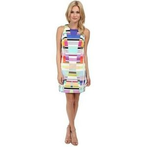 Trina Turk Color Blocked Lace Lined Graphic Dress